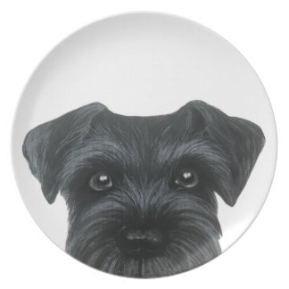 Black schnauzer original painting plate