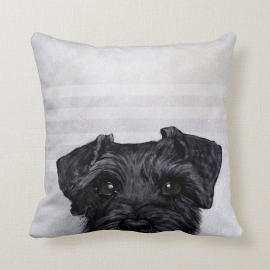 black schnauzer original painting print by Miart Cushion