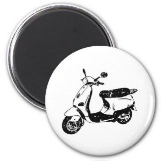 Black Scooter 6 Cm Round Magnet