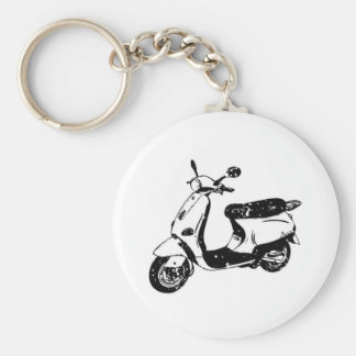Black Scooter Basic Round Button Key Ring