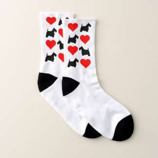 Black Scottie and Hearts Your Background Color Socks