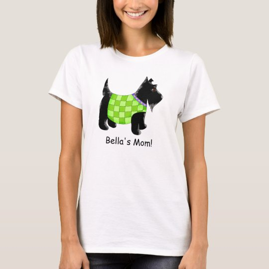 Black Scottie Dog Green Name Personalised T-Shirt