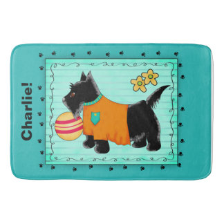 Black Scottie Dog Name Personalized Turquoise Teal Bath Mat
