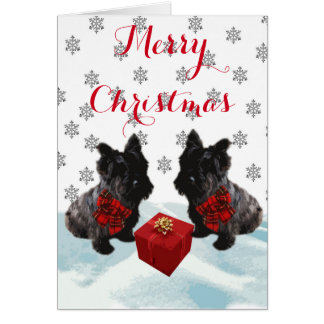 Black Scottie Dog Tartan Bow Christmas Greeting Card
