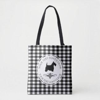 Black Scottie Flourish Buffalo Pattern Tote Bag