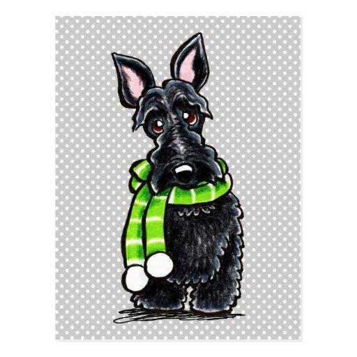 Black Scottie Happy Winter Scarf Post Cards