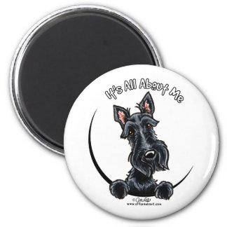 Black Scottie IAAM 6 Cm Round Magnet