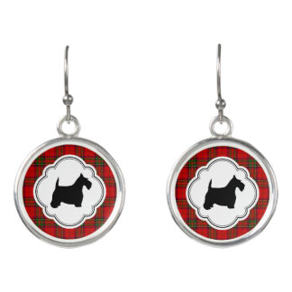 Black Scottie on Stewart Plaid Earrings