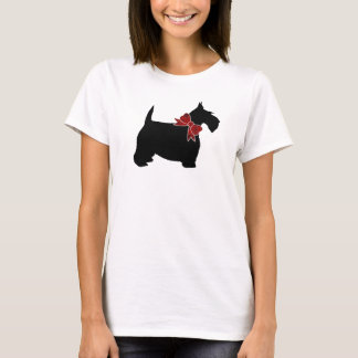Black Scottie Red Paisley Bow Tie T-Shirt