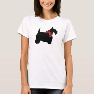 Black Scottie Red Paisley Bow Tie T-Shirt