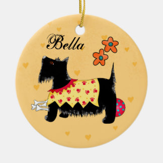 Black Scottie Terrier Dog Name Personalized Yellow Christmas Ornament