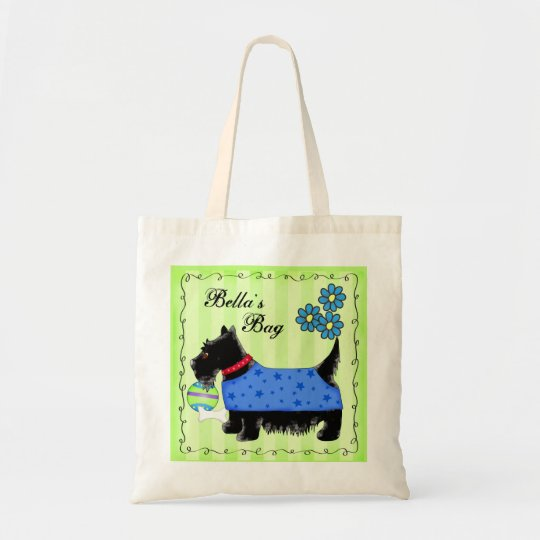 Black Scottie Terrier Dog Personalised Green Tote Bag