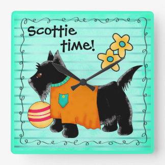 Black Scottie Terrier Dog Personalized Teal Green Square Wall Clock