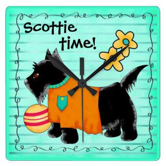 Black Scottie Terrier Dog Personalized Teal Green Wallclock