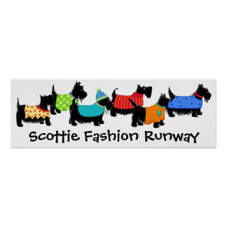 Black Scottie Terrier Dogs Fashion Runway Art Poster