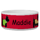 Black Scottie Terrier Dogs Name Personalised Red