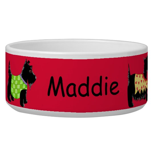 Black Scottie Terrier Dogs Name Personalised Red Pet