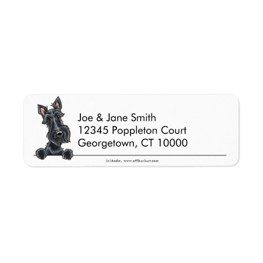 Black Scottish Terrier Clean & Simple Return Address Label