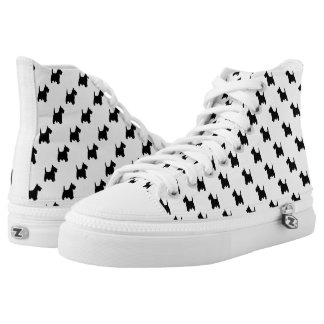 Black Scottish Terrier Dog Pattern on White High Tops