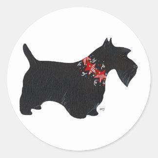 Black Scottish Terrier Holiday Collar Round Sticker