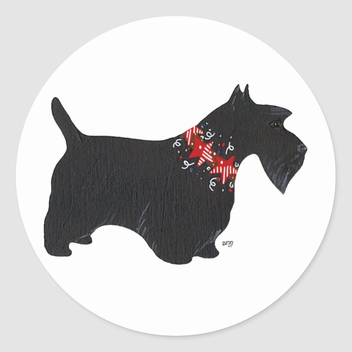Black Scottish Terrier Holiday Collar Round Sticker