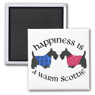 Black Scottish Terriers Happiness Square Magnet
