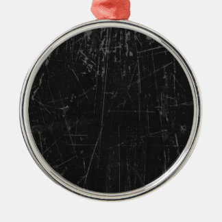 Black Scratched Aged and Worn Texture Christmas Ornament