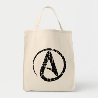 Black Scratched and Worn Atheist Atheism Symbol Canvas Bag