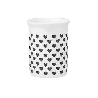 Black scribbled hearts beverage pitcher