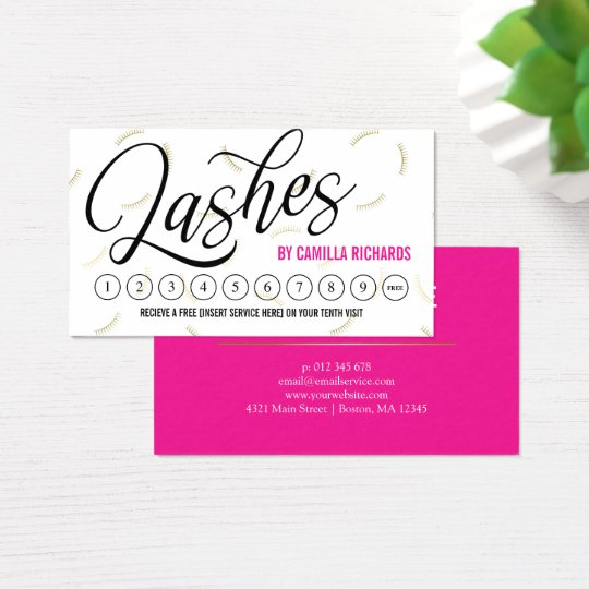 Black Script & Gold Lashes Loyalty Punch Card