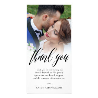 Black Script Overlay Wedding Photo Thank You Personalized Photo Card