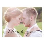 Black Script Photo Wedding Thank You Postcard
