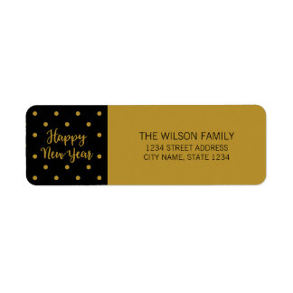 Black Script Polka Dot Happy New Year Address Return Address Label