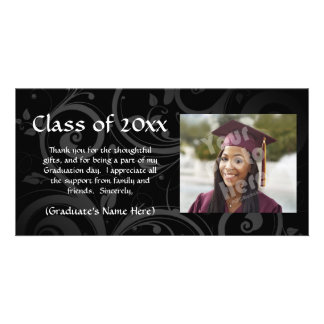 Black Scroll Graduation Announcement/Thank You Customised Photo Card