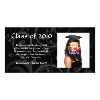 Black Scroll Graduation Announcement/Thank You Photo Card Template