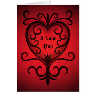 Black scrollwork heart on red I love you Greeting Cards