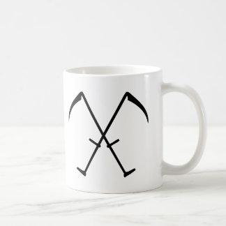 black scythe crossed icon mug