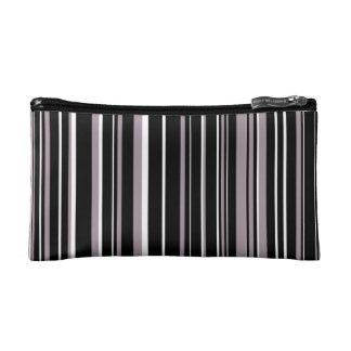 Black, Sea Fog Purple, White Barcode Stripe Cosmetics Bags