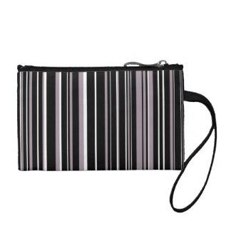 Black, Sea Fog Purple, White Barcode Stripe Change Purse