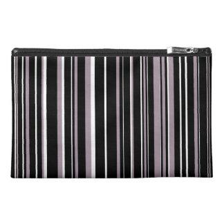 Black, Sea Fog Purple, White Barcode Stripe Travel Accessory Bags