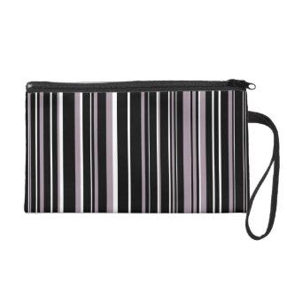 Black, Sea Fog Purple, White Barcode Stripe Wristlet Purses