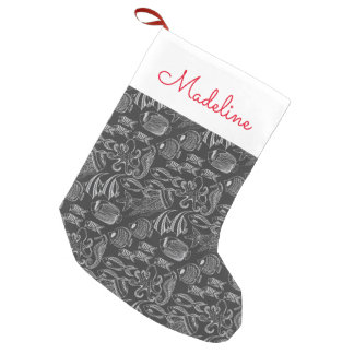 Black Sea Pattern | Add Your Name Small Christmas Stocking