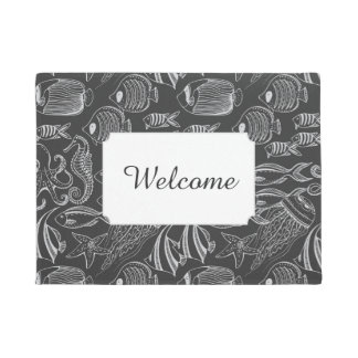 Black Sea Pattern | Add Your Text Doormat