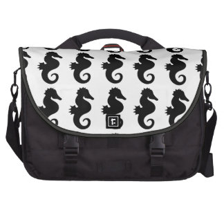 Black Seahorse Silhouette Computer Bag