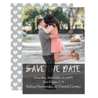Black See ThroughTypography Save The Date Hearts Card