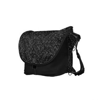 Black Sequin Effect Rickshaw Messenger Bag