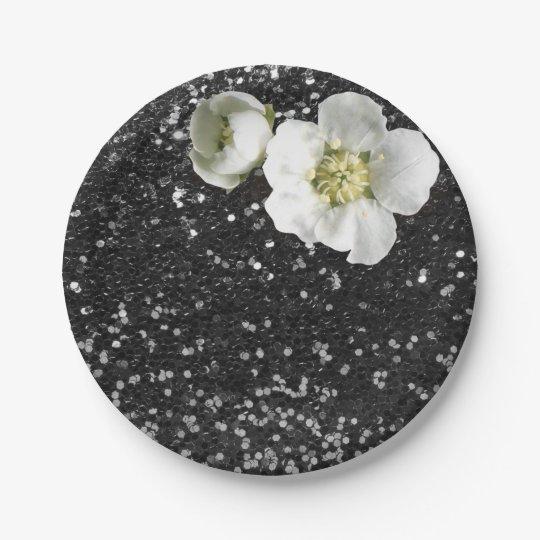 Black Sequin Floral White Jasmine Glitter 7 Inch