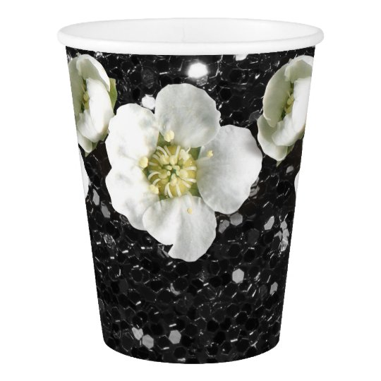 Black Sequin Tropical Glitter Flower Jasmin Paper Cup