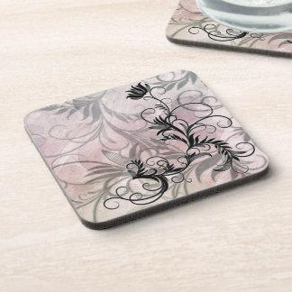 Black Shaded Floral Corkback Coaster Sets