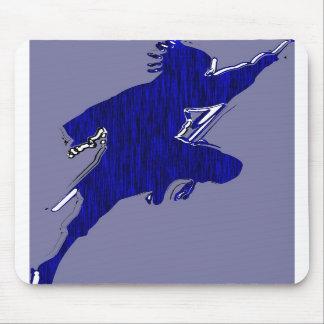 black shadow black bird in blue tiger mousepads